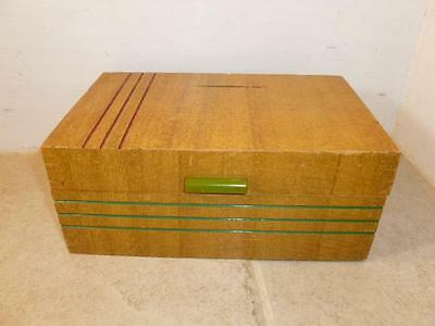 Vintage Art Deco Wood Mirror Jewelry Box Chest Green Bakelite Handle