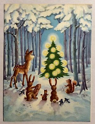 Forest Animals Lit Christmas Tree Snow 1940's Vintage Christmas Greeting Card