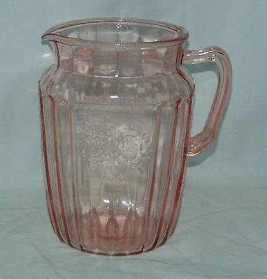 "Anchor Hocking MAYFAIR/OPEN ROSE PINK *8 1/2"" 80 oz WATER PITCHER*"