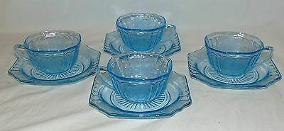 4 Anchor Hocking MAYFAIR/OPEN ROSE BLUE *CUPS & SAUCERS*