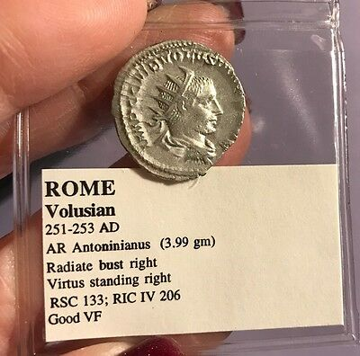 ROME VOLUSIAN 251-253 AD Silver Authentic Ancient Roman Coin Good VF