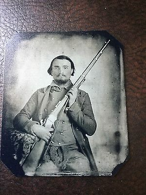 Civil War Military Soldier With Rifle TinType C119NP