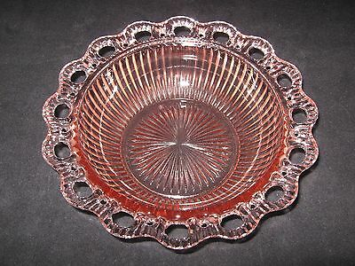 """Anchor Hocking Pink Depression Glass Lace Edge Ribbed Bowl Old Colony 9.5"""""""