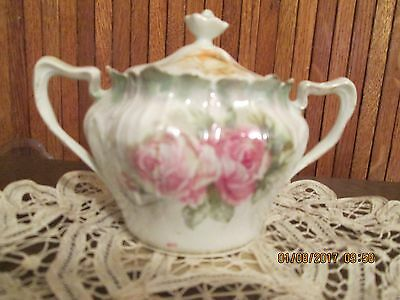 Vintage RS PRUSSIA  Double handeled Pink & Yellow Roses Sugar Bowl & Lid