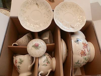 """Lenox Butterfly Meadow 7 Pc Tea Set Service For 2 """"new In Box"""" First Quality"""