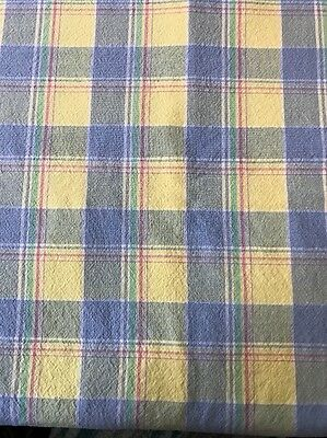 """Genuine Fiesta Plaid Cotton Tablecloth Yellow Pink Blue Sea Must Green 47""""x47"""""""