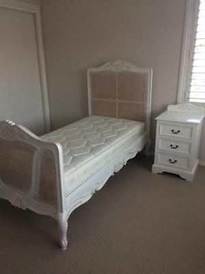 French Style Single Bed, Bedside Table And Bookcase