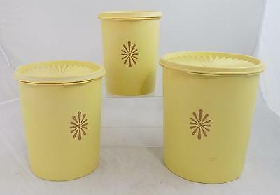 Vintage Set of 3 Yellow Tupperware Canisters With Lids