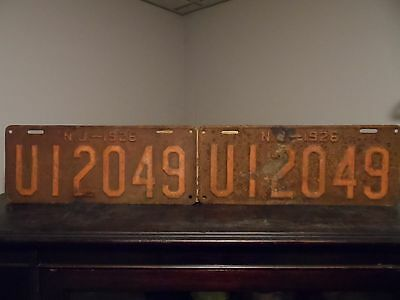 1926 New Jersey License Plate Set  LONG PLATES !