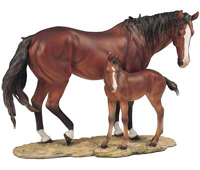 """Brown Horse with Foal 14"""" Figurine"""