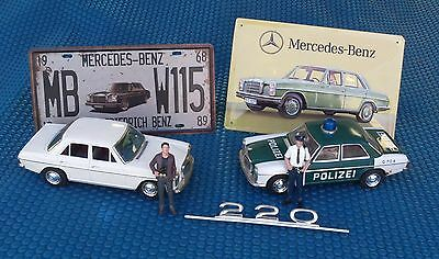 Vintage Tin Friction Car Mercedes Benz Stroke 8 With Police Diorama Figures