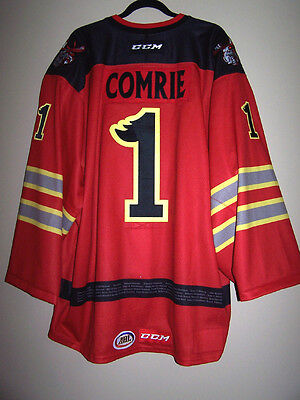 Manitoba Moose Fire Fighter Day Game Used Worn Jersey Eric Comrie 1