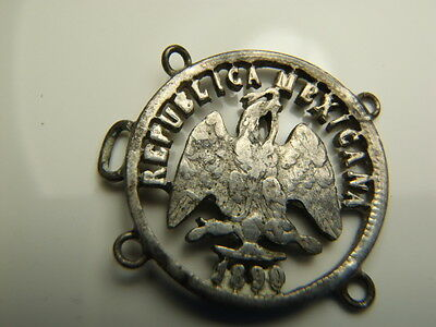 Mexico 10 Centavos 1890 Silver Coin Cut Out Jewelry