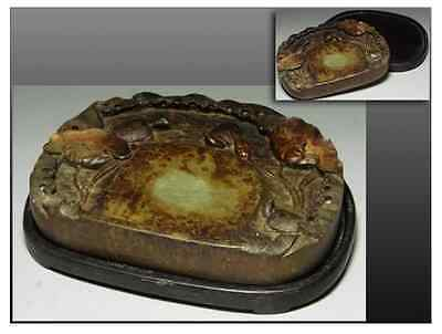 Chinese Antique OLD INK STONE [ Turtle ] Zitan base / W 22× D18 × H 5 [cm] 2346g