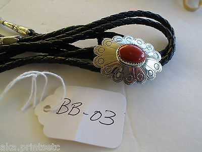 Bolo Tie, Gem Stone  Leather, Silver Toned, Nos Vintage Bb-03