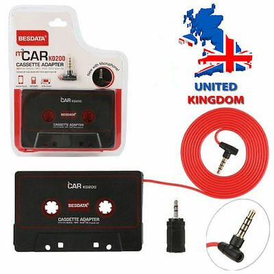 New 3.5mm AUX Car Audio Cassette Tape Adapter For iPod MP3 CD Player Mic Local