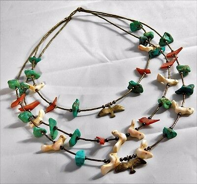 Vtg ZUNI Native American Shell Bird Fetish Turquoise Sterling Silver Necklace