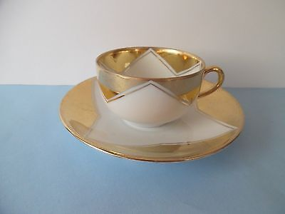 BFHS Cup & Saucer White With Gold Carlsbad China Austria