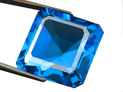 19.20ct Lab-Created BABY SWISS BLUE TOPAZ NANO CRYSTAL SQUARE EMERALD CUT 17 MM