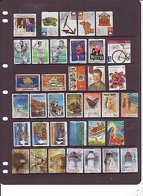 Page Of Fairly Recent Used Australian Stamps
