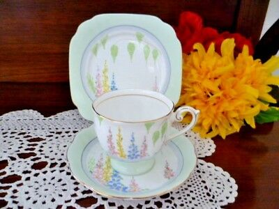 Bell fine bone china england  Cup & Saucer & plate set hand painted holly hocks