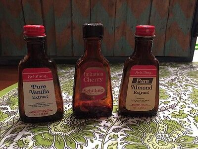 Vintage Schilling Extract Bottles Lot Of 3