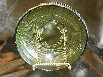 "Vintage Green Glass E.O. Brody Co. USA Ribbed Bowl 2 3/4"" x 6 1/4"" ✞"