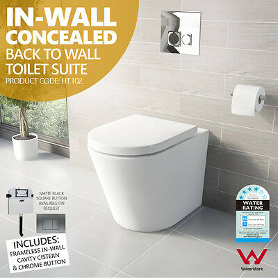 HT-102 Round In-Wall Concealed Ceramic Back to Wall Faced Toilet Suite S&P Trap