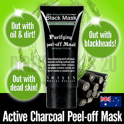 2 x Shills Black Mask Blackhead Remover Acne Pore Deep Cleansing Face Mask Peel