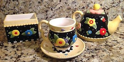 Mary Engelbreit ME Ink Floral Teapot, Cup, Saucer, Sugar Bowl, 2004 Brownlow