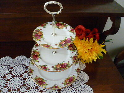 Vintage Royal Albert Made In England Old Country Roses 3 Tier Stand