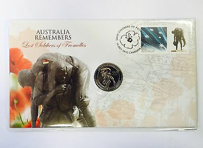 AUSTRALIA REMEMBERS LOST SOLDIERS OF FROMELLES 2010 PNC STAMP & 20c COIN COVER
