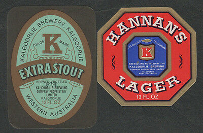 k499a)  HANNAN'S BREWERY WESTERN AUSTRALIA: 13oz LAGER & EXTRA STOUT LABELS