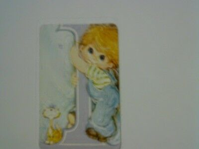 1 Single Swap/Playing Card -  Little Boy Holding on to the Letter 1 (Blank Back)