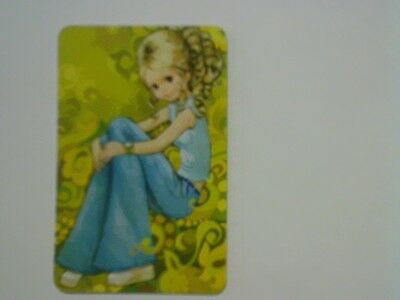 1 Single Swap/Playing Card - Blonde Girl Wearing Flared Jeans (Blank Back)