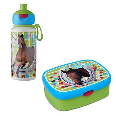 Mepal Kinder Brotdose + Pop Up Trinkflasche Flasche Pferd I love Horses Lunchbox