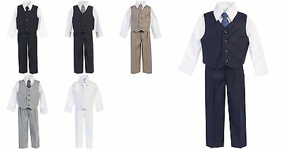 Boys Suit Vest Pants White Dress Shirt Tie Formal 4pc Baby Toddler Size 6M-14