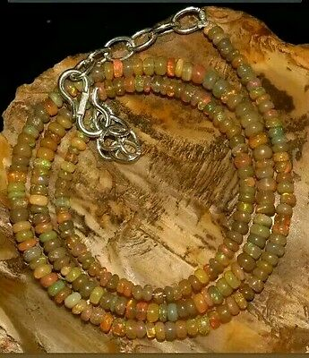 Opal 195 Beads Welo Opale Naturale Fire 3-4Mm Necklace Very Rare Colors Rondel