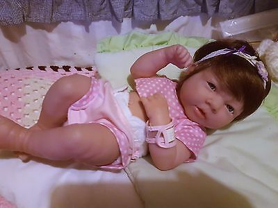 Berenguer La Newborn Girl Anatomically Correct with New Brown partial Cap Wig
