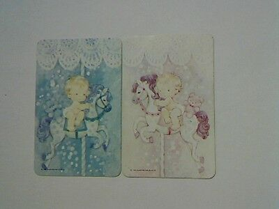 (2) Swap/Playing Cards - Pair Cute Babies on Carousel/Merry go Round(Blank Backs