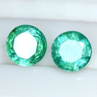 1.48 Cts Natural Emerald Untreated Pair 6 mm Amazing Gemstone Round Cut Zambia $