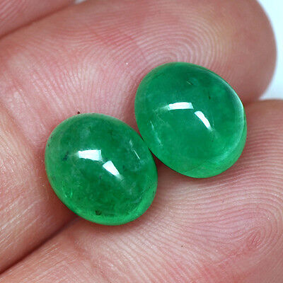 9.32 Cts Natural Top Emerald 11 x 9 mm Loose Gemstone Oval Cabochon Pair Zambia