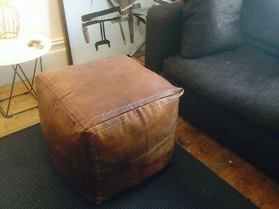 New Square Moroccan Leather Ottoman Pouffe Pouf Footstool Coffee Table In Tan