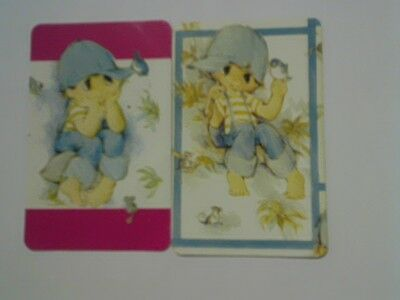 (2) Swap/Playing Cards - Pair Cute Boy with Blue Bird (Blank Backs)