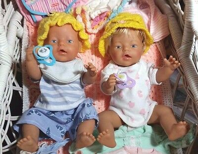 Zapf Creations Baby Boy & Girl Doll's w/ Original Bulk lot of Girl Doll clothes