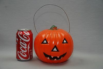"VTG 5.5"" Halloween pumpkin Jack-O-Lantern Union Products Wire Handle Nice Paint"