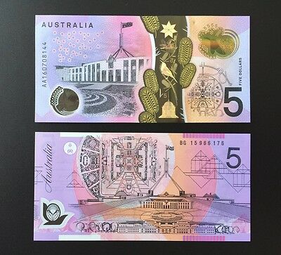 RARE 2015 $5 And AA16 FIRST PREFIX 2016 $5 BOTH UNCIRCULATED