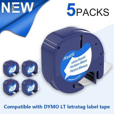 "2PK Dymo 91331 Letra Tag 12mm 1/2"" Black on White Plastic Compatible Label Tape"