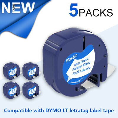 5 PACK LT 91331 Dymo Letratag Refill Compatible with Dymo Label Maker Tape 12mm