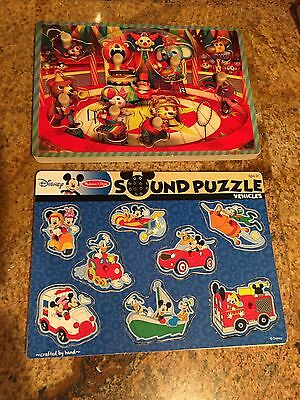 2 Sound Puzzles: Melissa & Doug Vehicles & Janod Circus - With Pegs, Works Great